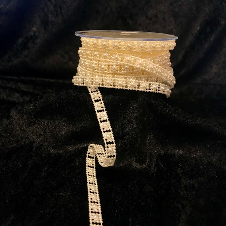 Edelweiss Perle-bånd creme 10mm