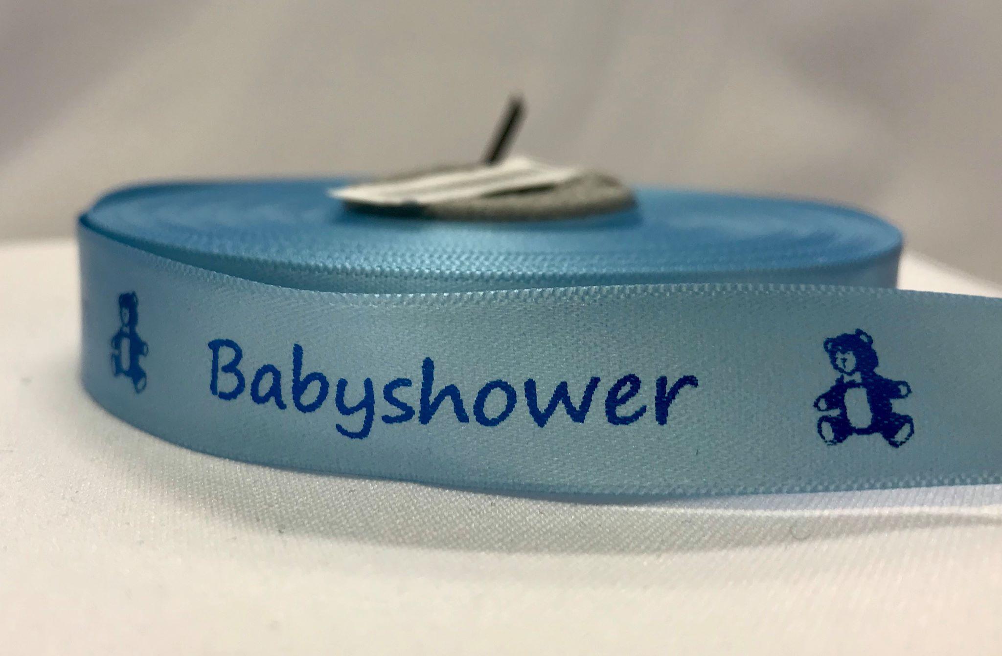 Silkebånd blått med blå skrift: babyshower