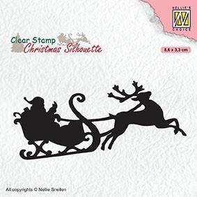 """NS Clearstamp """"Santa claus with reindeer sleigt"""" CSIL011. Nisse på slede med reinsdyr. Stempel."""