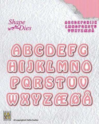 """NS Shape Die """"Alphabet-3"""" SD080. Alfabet/ bokstavdie med skygge. Dies."""