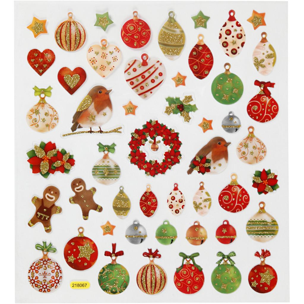 Klistremerker/Stickers, Julekuler Og Pynt, 15x16,5 cm, 1 Ark