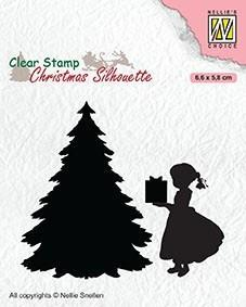"""NS Clearstamp """"Thank you santa!!"""" CSIL013. julestempel med jente, pakke og tre."""