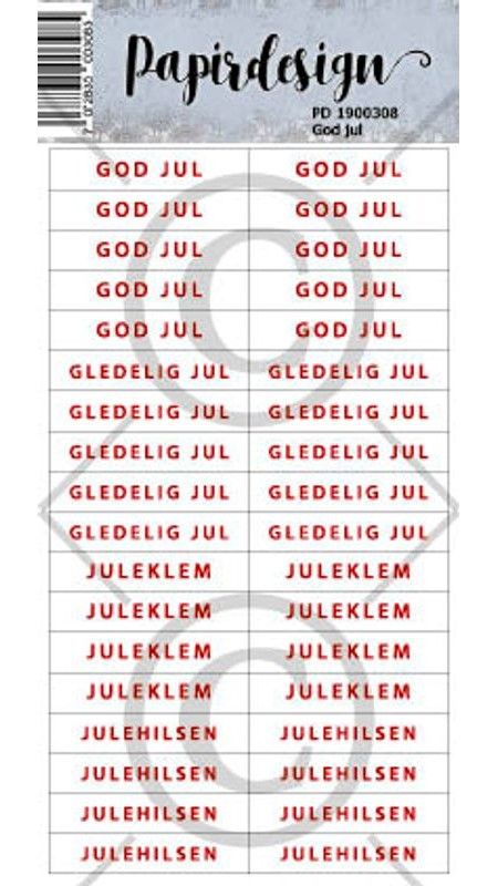 Papirdeign klistemerker god jul PD1900308
