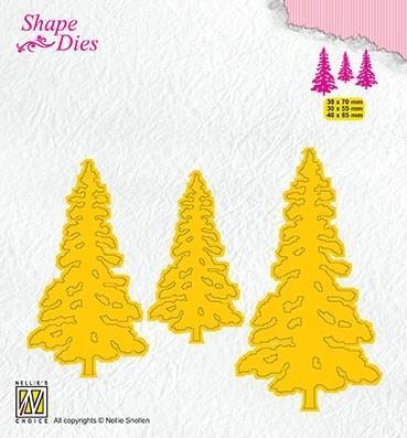 """NS SHAPE DIES """"3 Pinetrees"""" SD167, 3 grantrær / juletre / skogstre-die"""