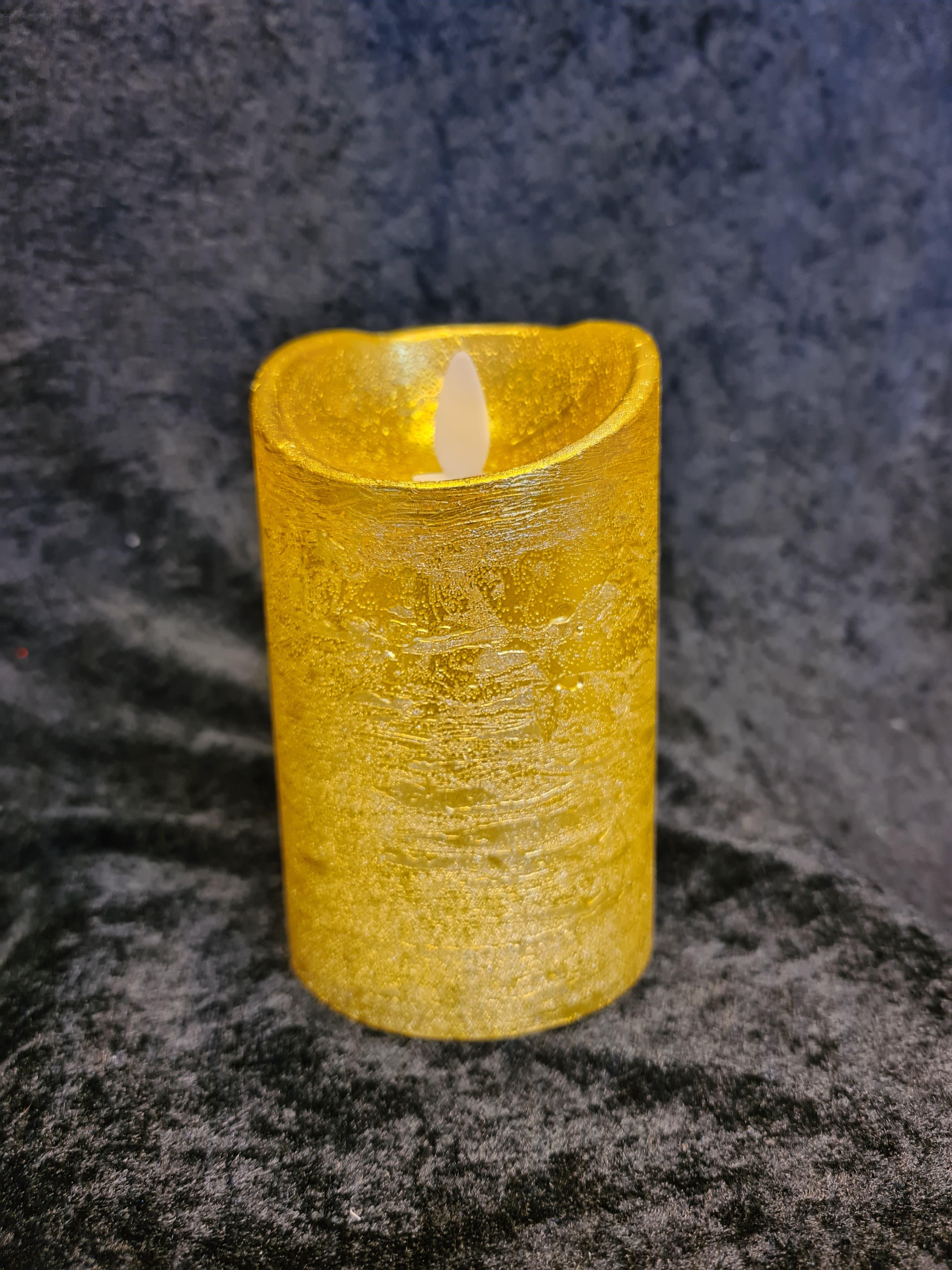 Salg! Kubbelys i voks gull (H:12cm)