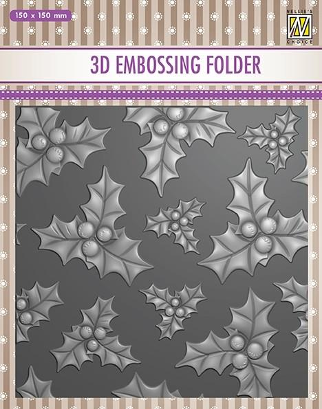 """NS 3D Embossingfolder 15x15cm """"Holly Leaves & Berries"""" EF3D014. Kristtorn og bær."""