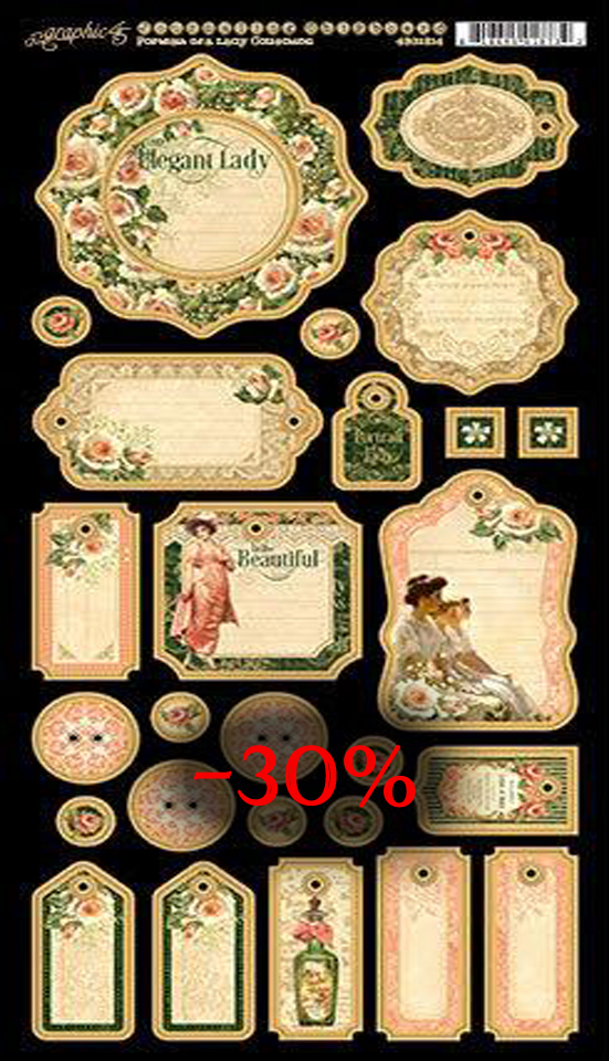 Graphic 45 journalist chipboard portrait of a lady collection