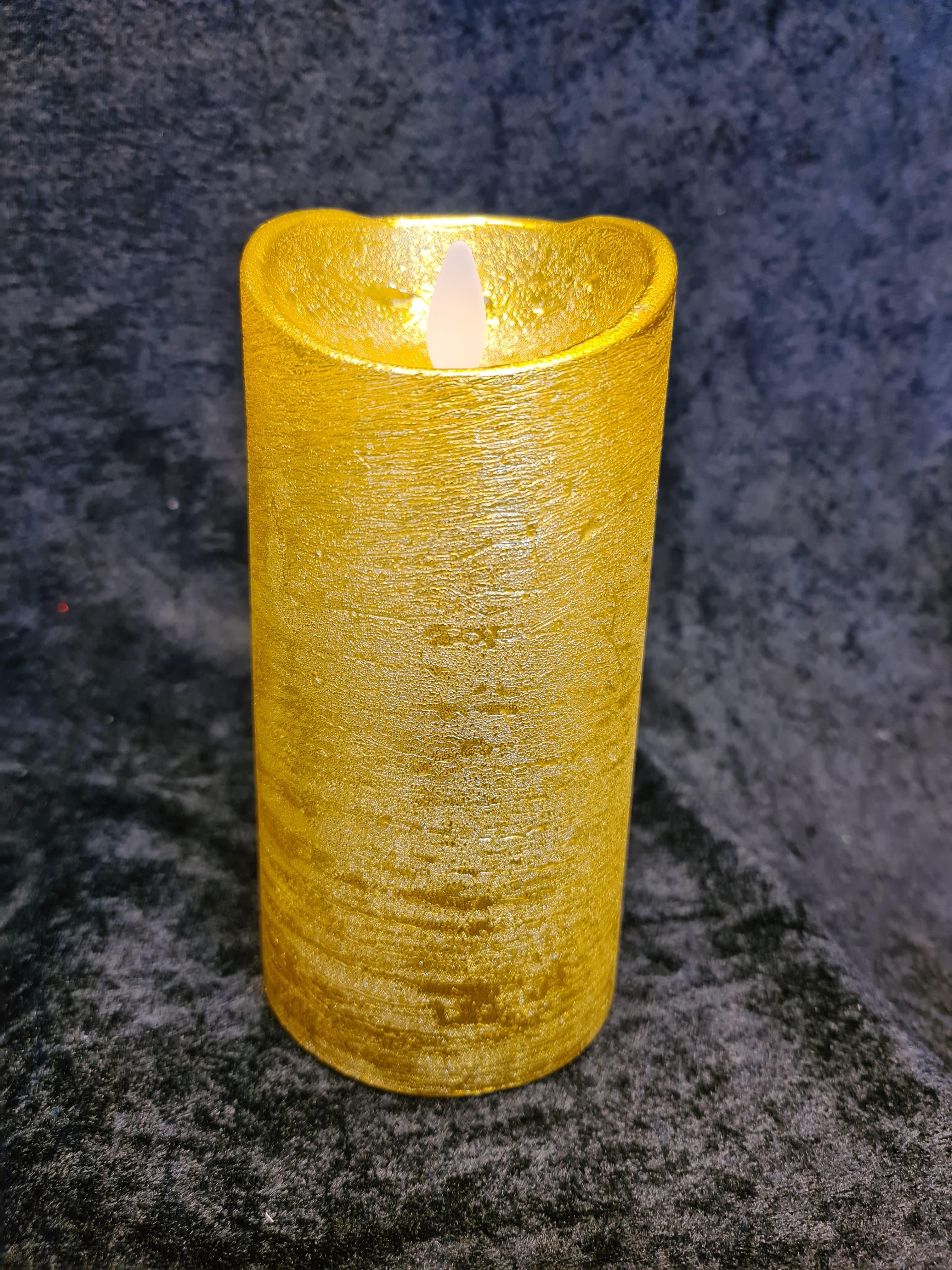 Salg! Kubbelys i voks gull (H:15cm)