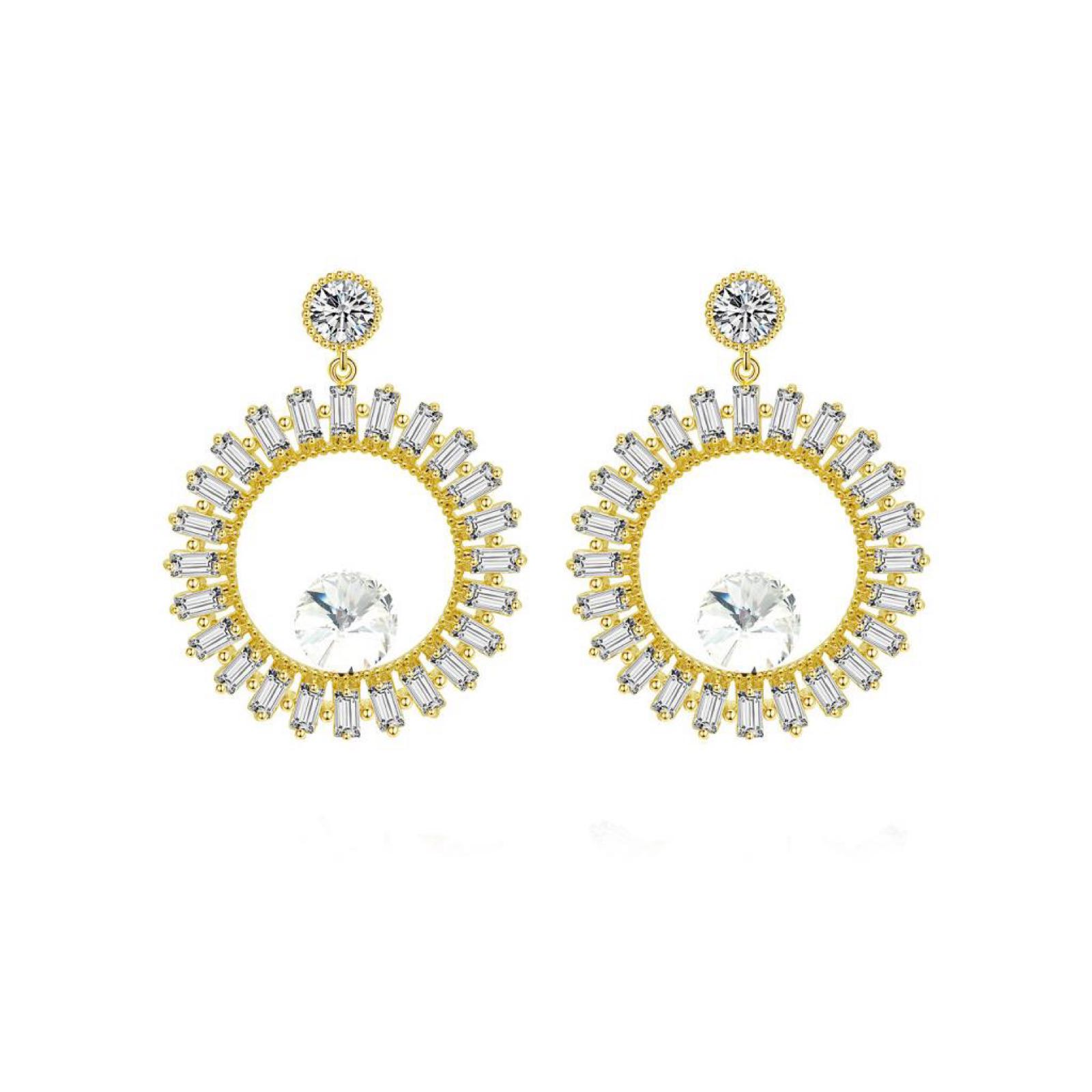 Last True Angel Gold Plated Cubic Zirconia Hollow Circle Crystal Earrings
