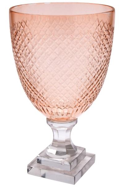 Pokal m/håndgraverede riller, rosa