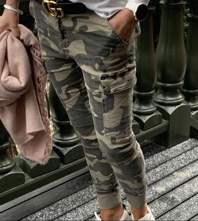 cabanaliving-CAMO JEANS WITH RIB AT LEG