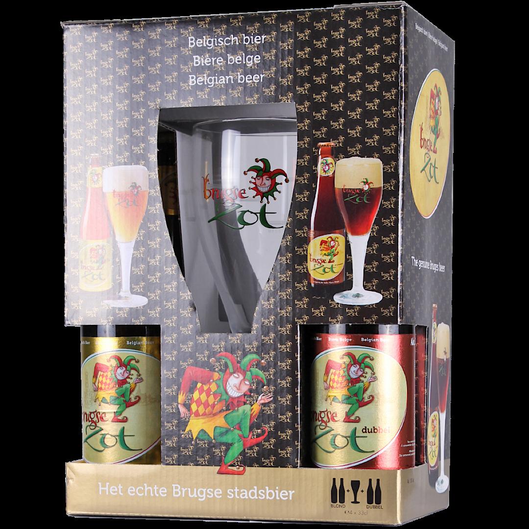 Brugse Zot Gift Pack 2x Blonde, 2x Brune + 1 Glass