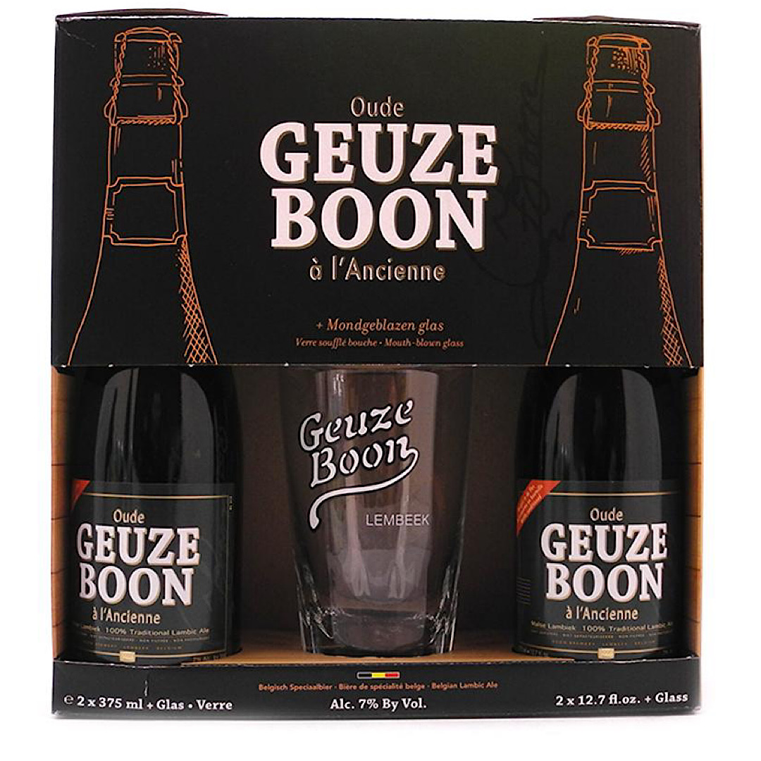 Oude Gueuze Boon Gift Pack 7% 2x375ml + 1 Glass