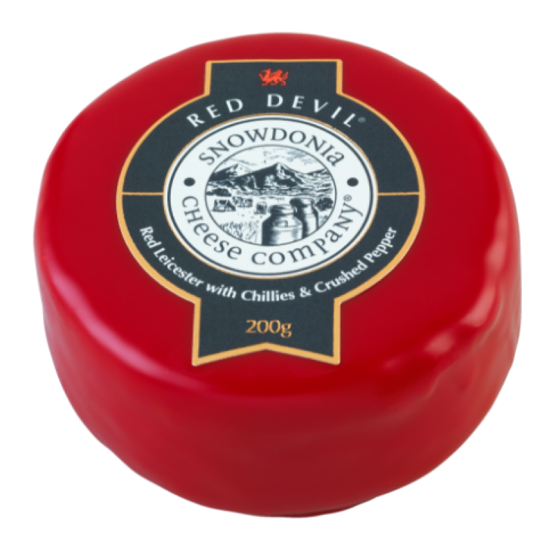 Red Devil 200g - Red Leicester with chillies and crushed pepper Snowdonia Cheese Co