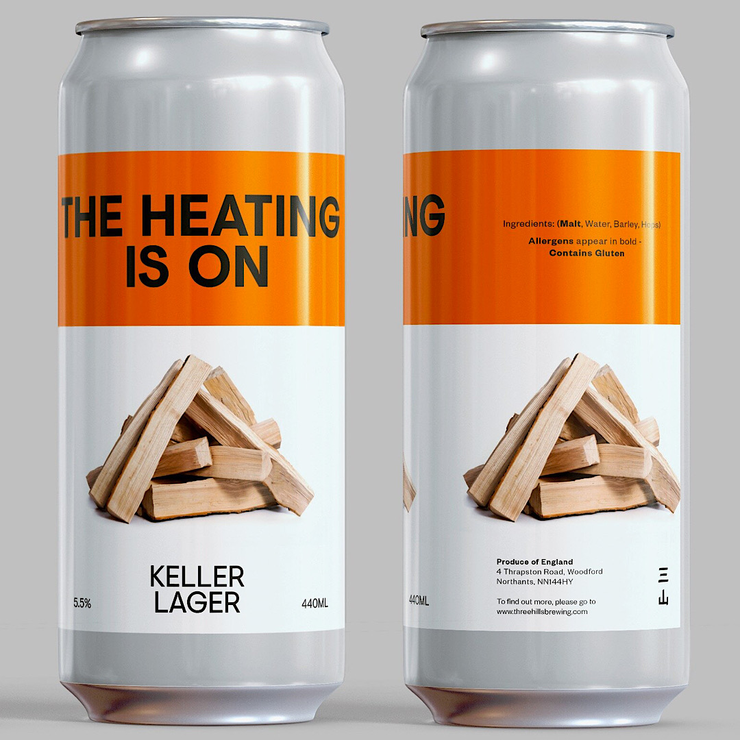 THE HEATING'S ON: KELLER LAGER 5.5% 440ml Three Hills Brewing