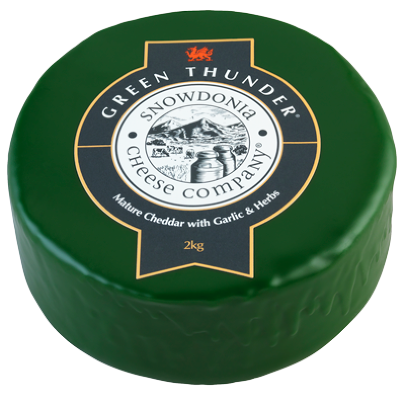 Green Thunder 200g - Mature Cheddar with Garlic and Herbs Snowdonia Cheese Co