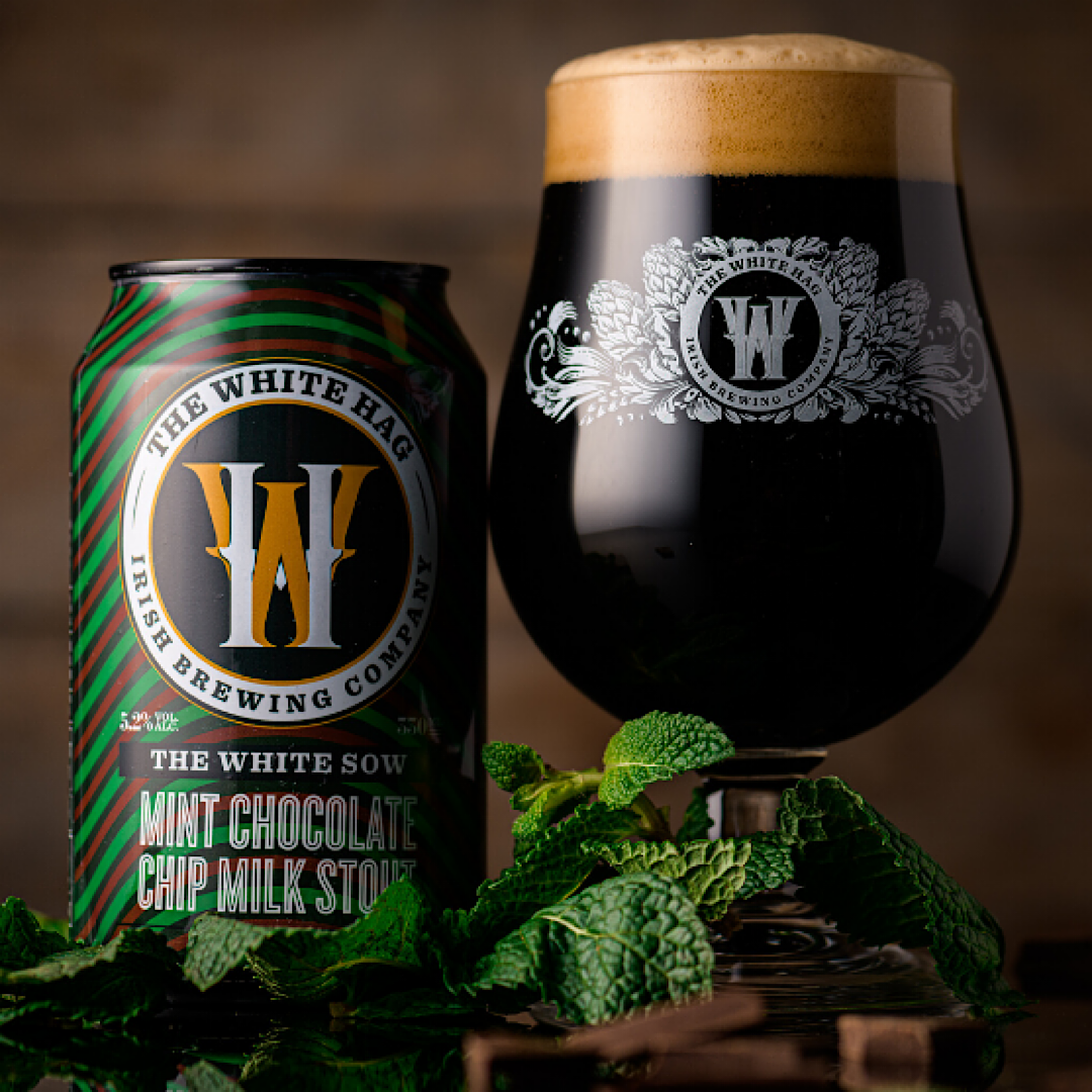The White Sow Mint Chocolate Chip Milk Stout 5.2% 330ml The White Hag Brewing