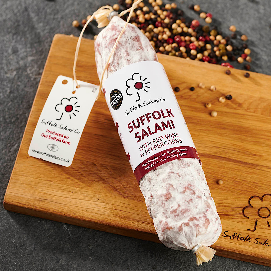 Suffolk Salami with Red Wine & Cracked  Black Pepper 220g