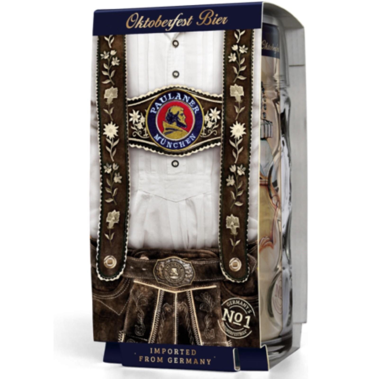 Paulaner Oktoberfest Bier 1 Litre Can & Glass Stein