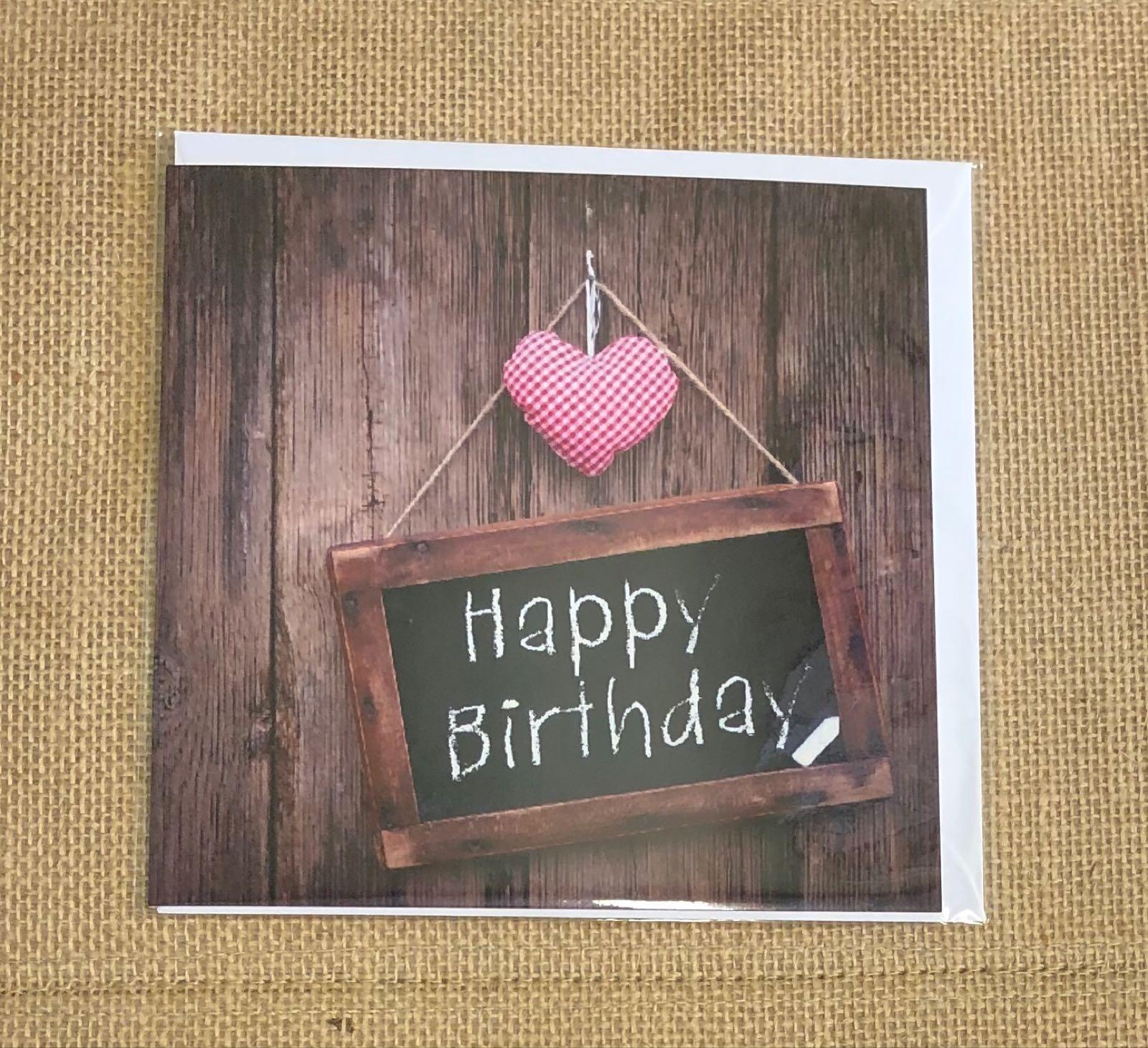 Happy birthday fabric heart card
