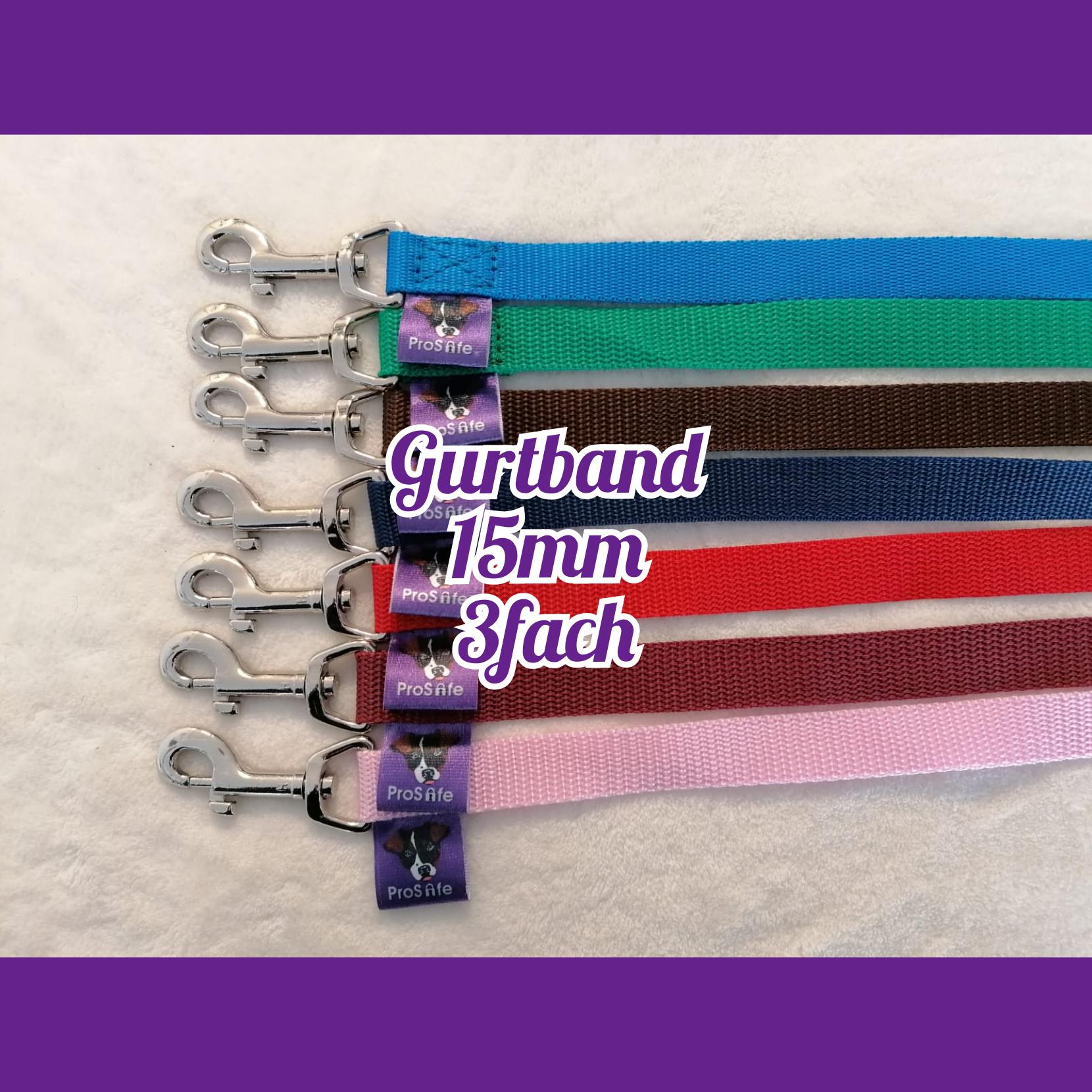 ProSafe Hundeleine, Gurtband, 3fach verstellbar, 15mm