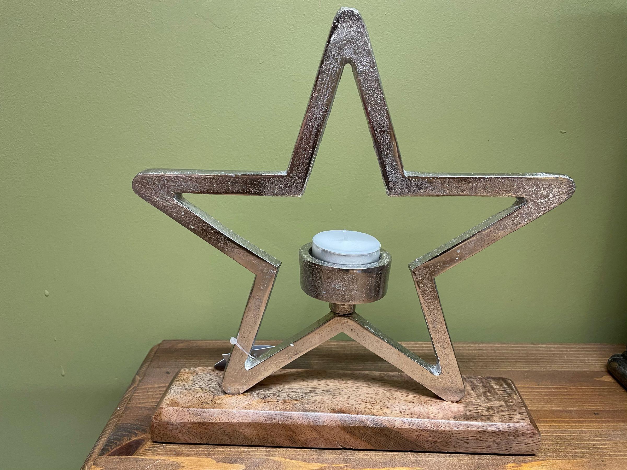 Aluminium star tea light holder 25cm