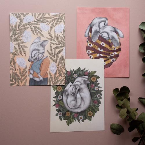 "Kajsa Wallin - Prints ""Sammanlindad"" 3- pack"