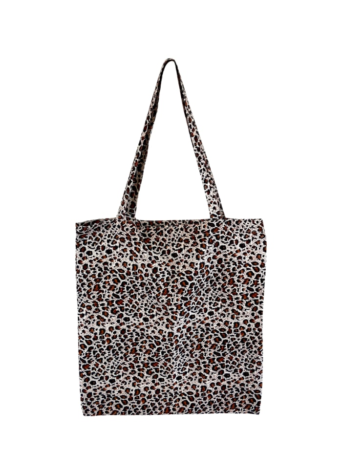 Black Colour - LULU cotton shopper - Brown leopard