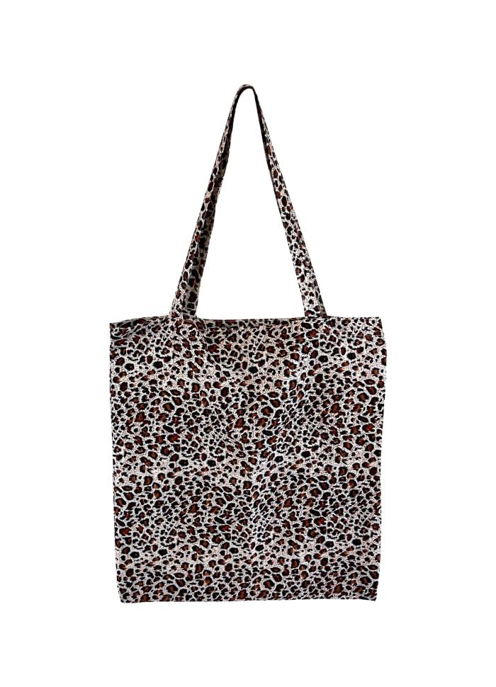 Black Colour - LULU cotton shopper - Brown leopard