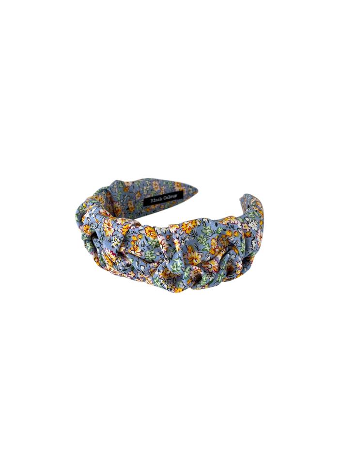 Black Colour - DIANA drape flower headband - Jeans blue