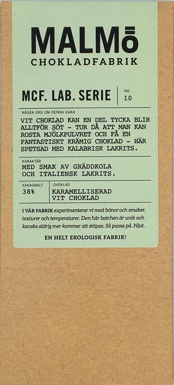 Malmö chokladfabrik - MCF Lab Serie: Blond lakrits 38%