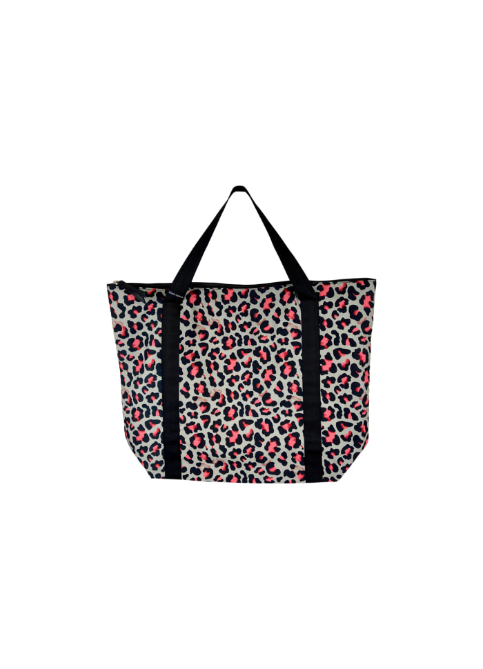 Black Colour - ALLY shopper bag - Pink leo
