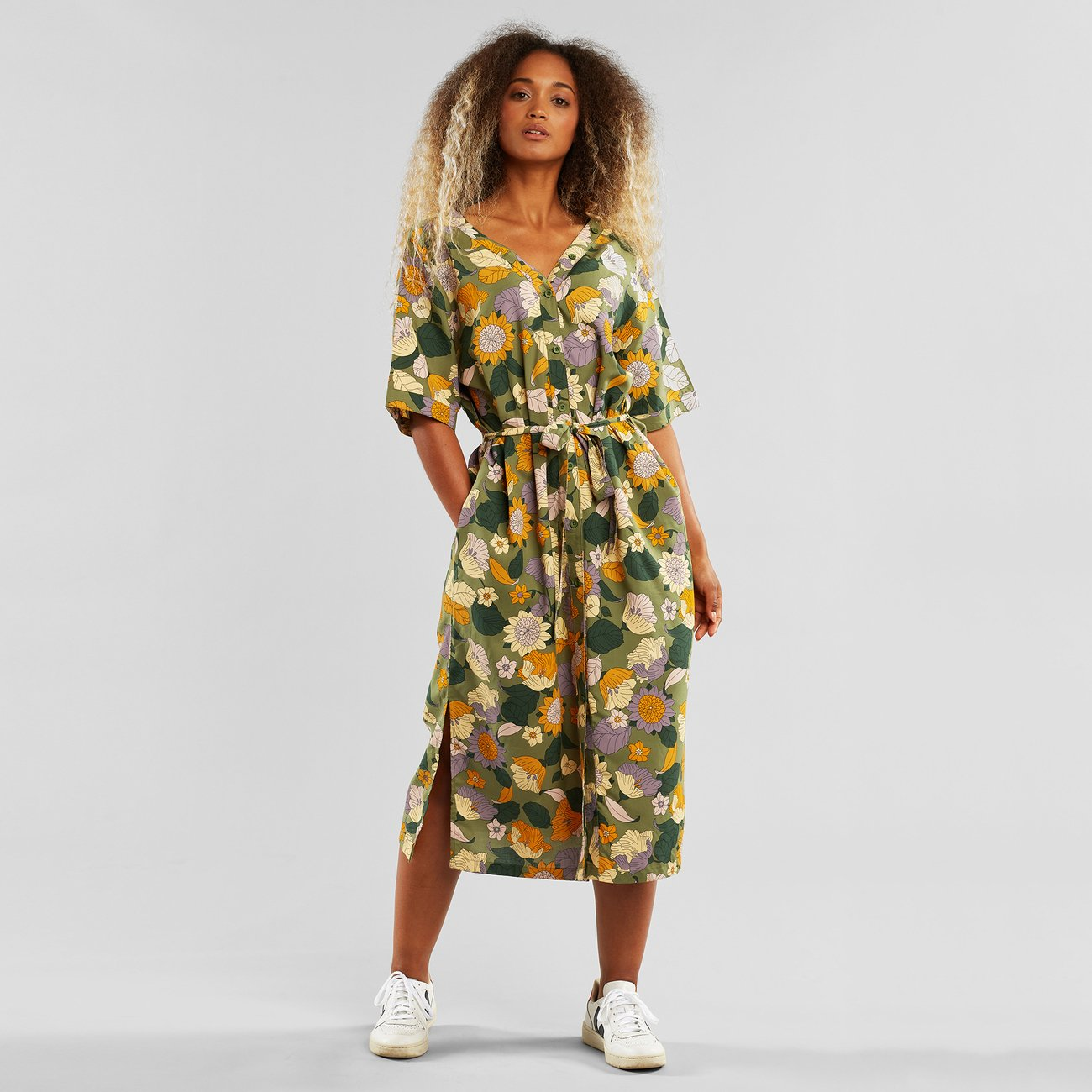 Dedicated - Dress Bornholm Seventies Floral Green
