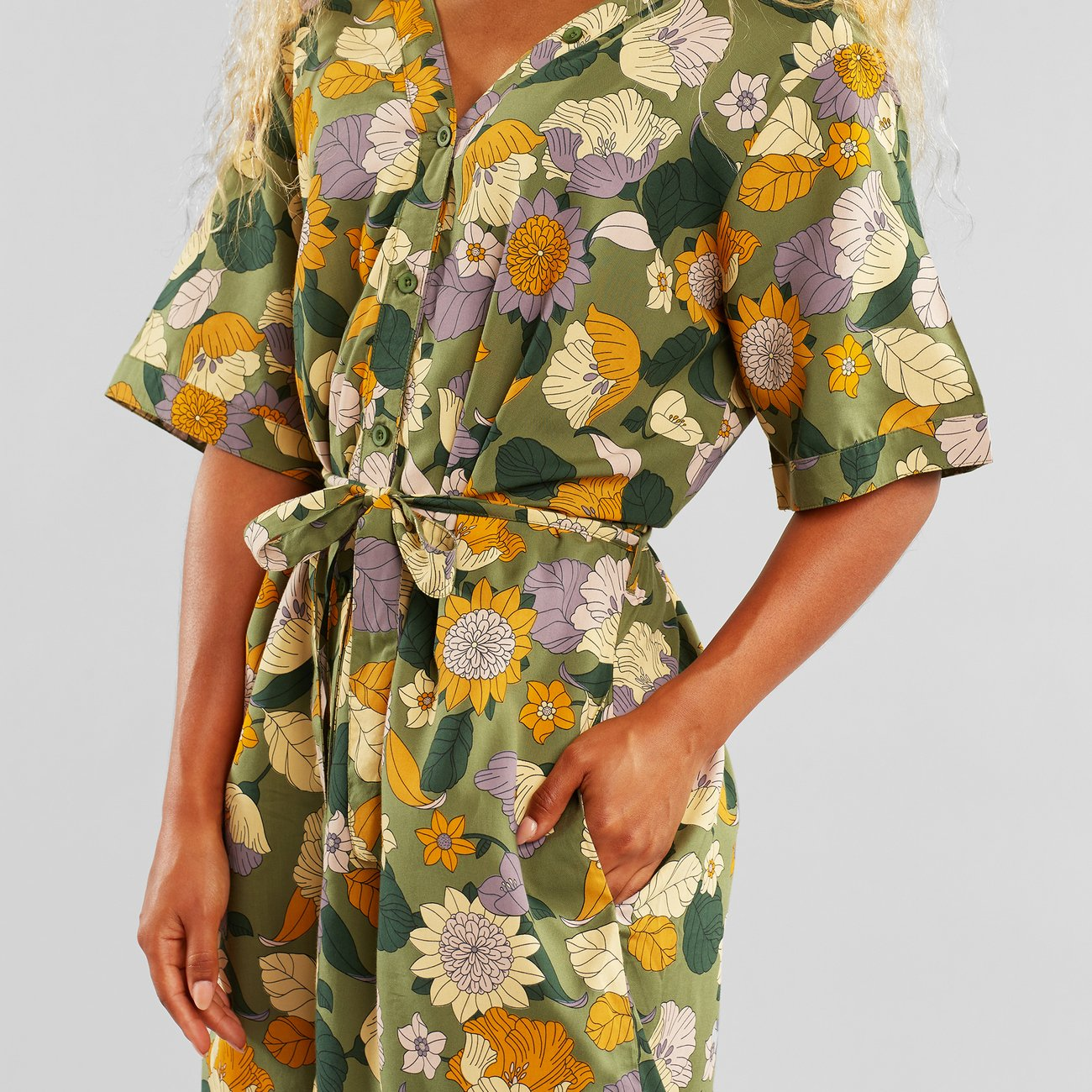Dedicated - Dress Bornholm Seventies Floral Green