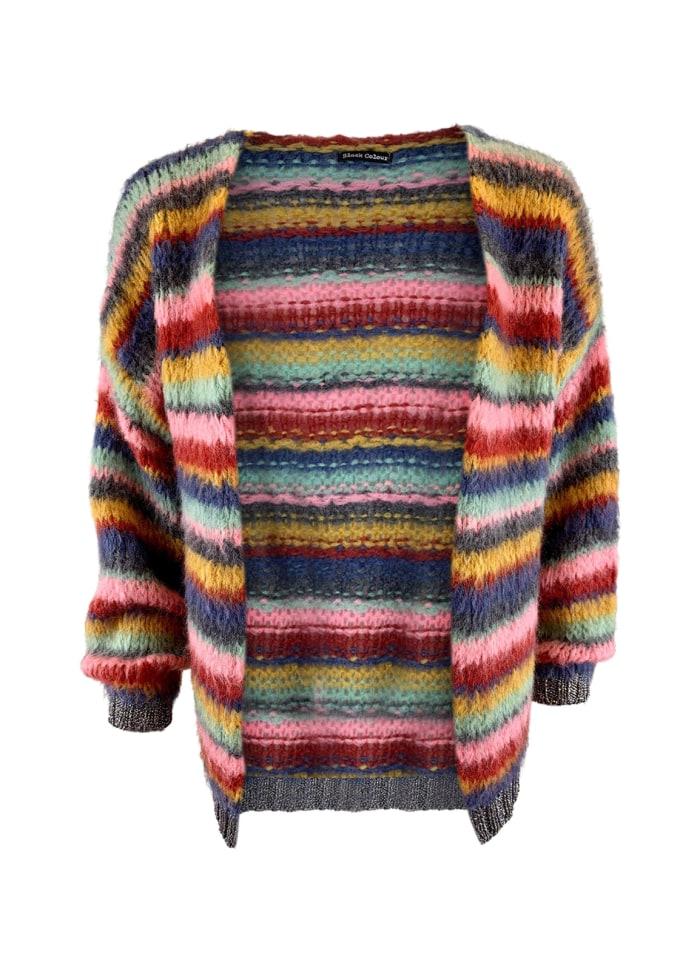 Black Colour - TANJA soft brushed striped cardigan