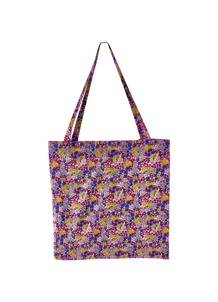 Black Colour - LULU cotton shopper - Purple blossom