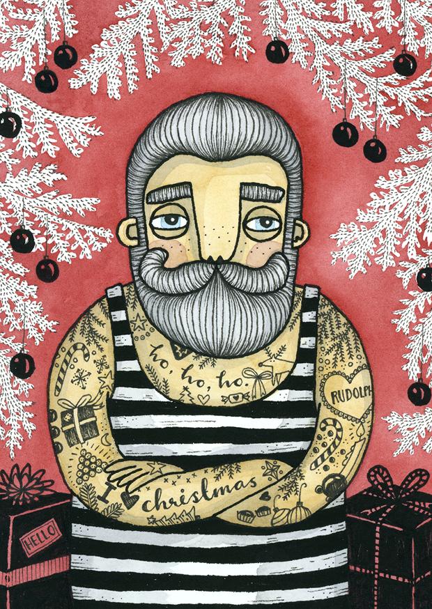 Bahkadisch - Vykort - Tattooed santa red