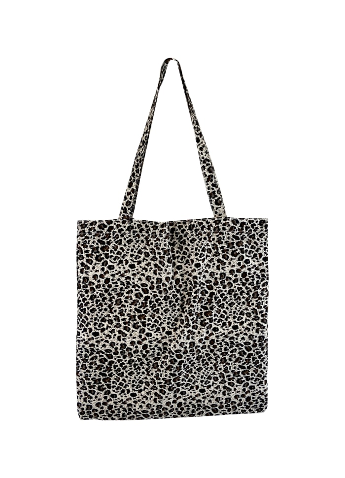 Black Colour - LULU cotton shopper - Black leopard