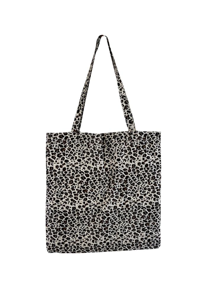 Black Colour - LULU cotton shopper - Black leopard