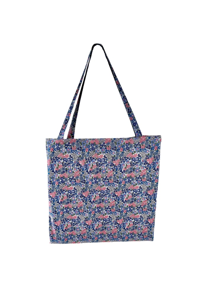 Black Colour - LULU cotton shopper - Blue blossom