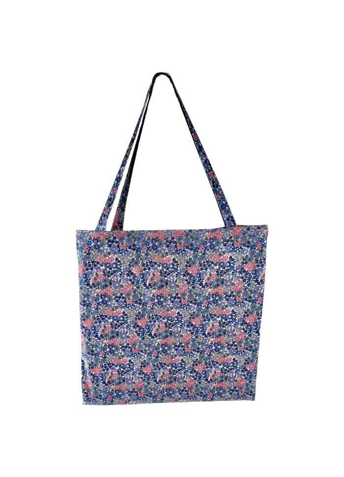 Black Colour - LULU cotton shopper - Blue blossom
