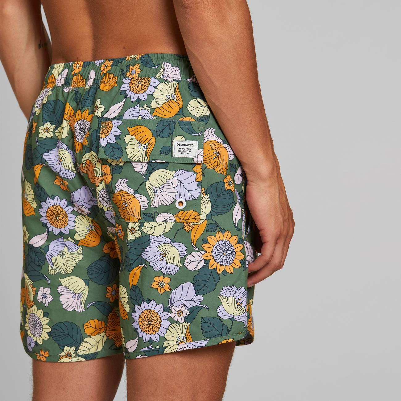Swim Dedicated - Shorts Sandhamn Seventies Floral Green