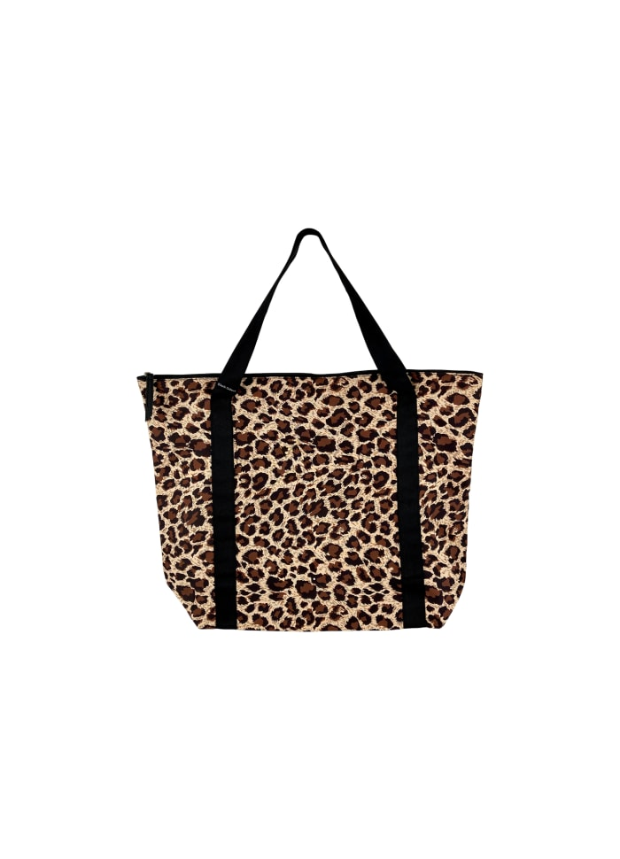 Black Colour - ALLY shopper bag - Natural leo