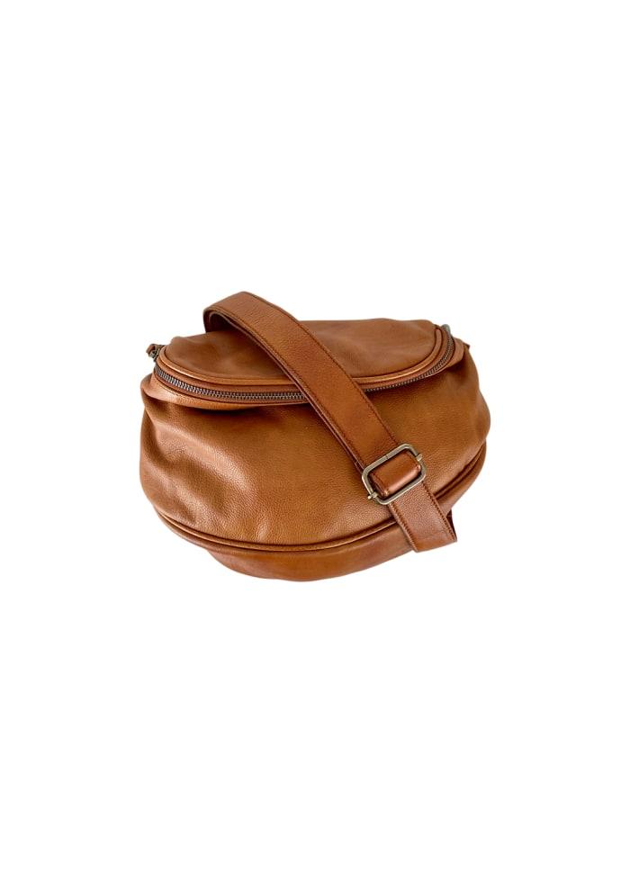 Black Colour - DELLA baggy leather bumbag