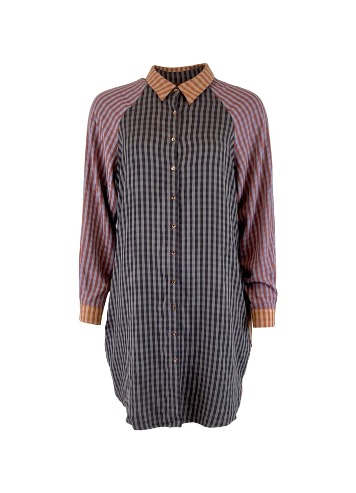 Black Colour - FÖRBOKA JANNA oversize patchwork shirt