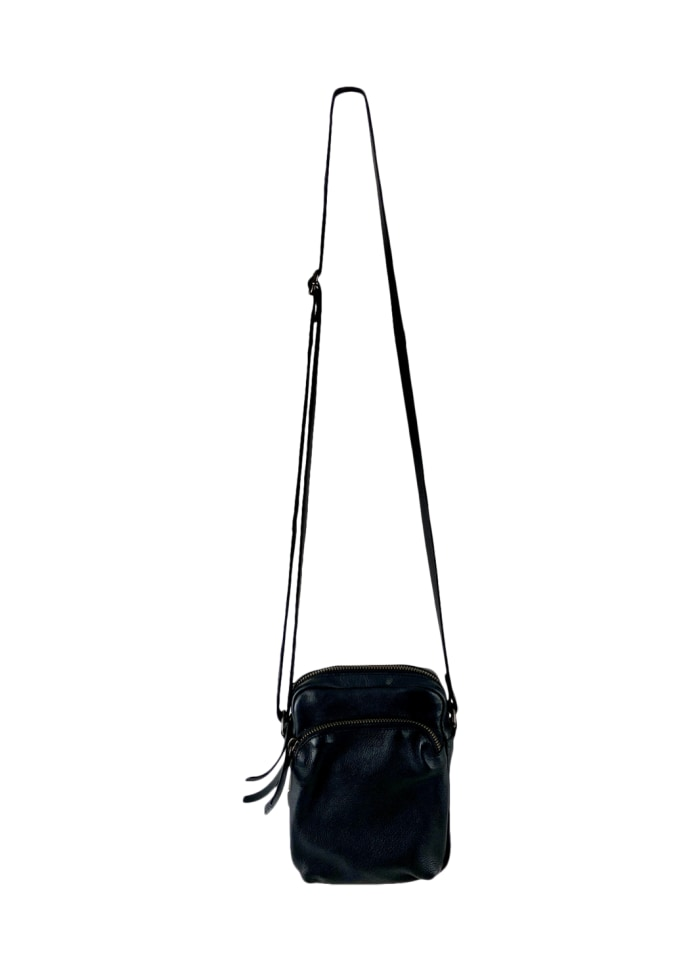 Black Colour - DENISE small leather purse Black