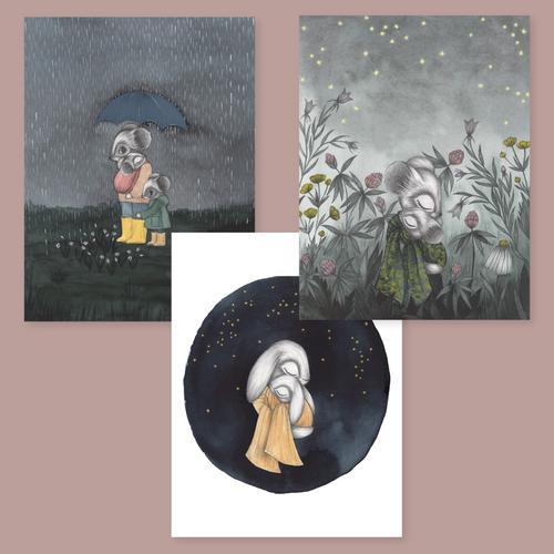 """Kajsa Wallin - Prints """"Håll mig trygg"""" 3- pack"""