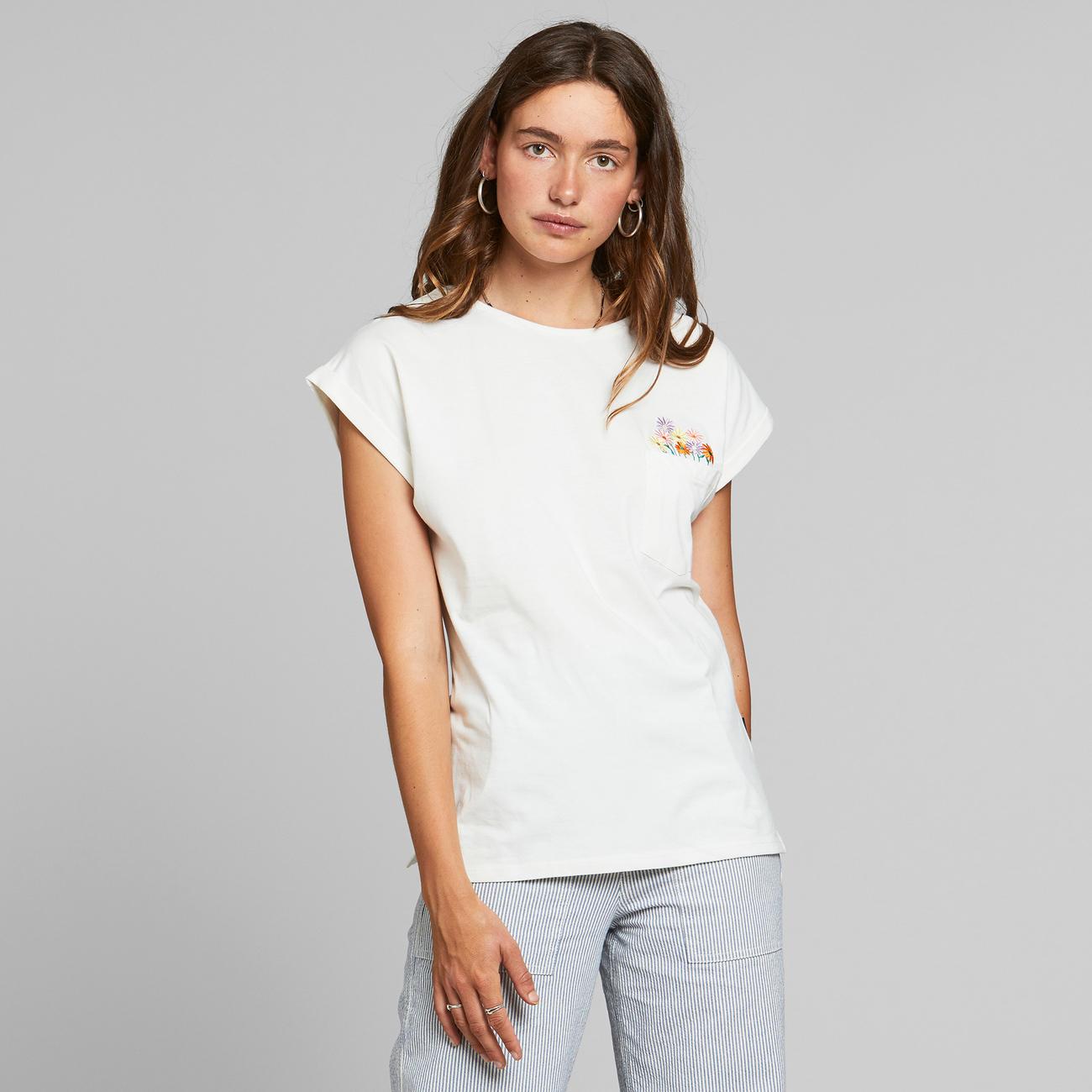 Dedicated - T-shirt Visby Flower Pocket Off-White