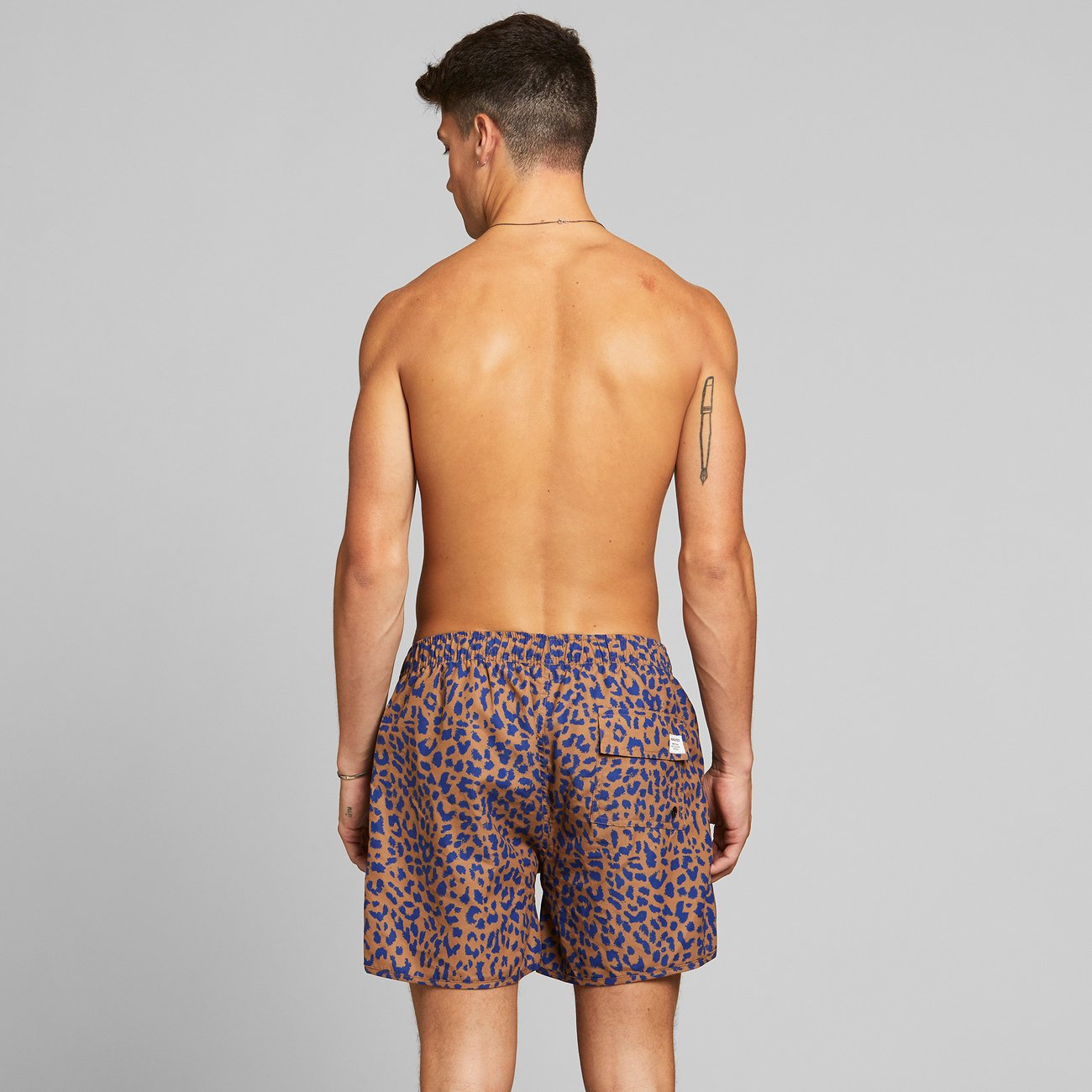 Dedicated - Swim Shorts Sandhamn Leopard Light Brown