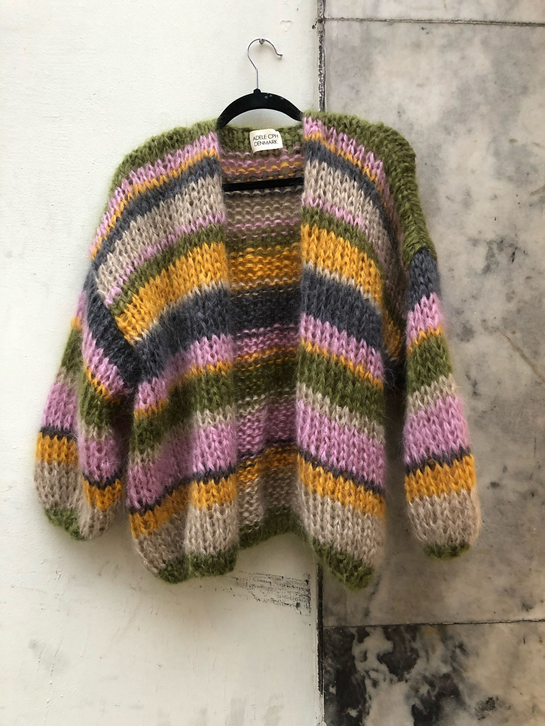 Cardigan mohair  olive, pink, yellow